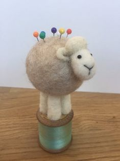 Needle felted Sheep on a vintage cotton reel - MADE TO ORDER This sheep has a white head and legs and a natural very light beige body.  A lovely, quirky hand made, gift for any one who loves sheep or all things cute. Can be used as a pin cushion or as an ornament.  Hand made by myself in my studio Gifts For Nan, Quirky Gifts, Vintage Cotton, All Things Cute, Felt Animals, Pin Cushions, Needle Felting, Sheep, Nanny Gifts