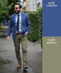 Esta combinación no solo aplica en jeans y chamarras. Llévala con unos pantalones y un saco de vestir para darle un aire casual a un look más formal.