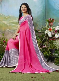 Ishita Bhalla Pink and Grey Shade Colour Georgette Printed Saree