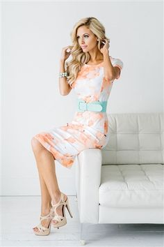 In LOVE with this floral dress! Cute matching belts are sold under Accessories section!