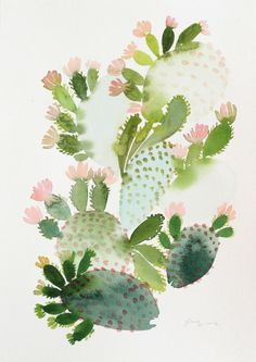 flowering cactus watercolor illustration by Yao Cheng Watercolor Cactus, Watercolor Leaves, Watercolor Paintings, Original Paintings, Watercolors, Acrylic Paintings, Image Cactus, Cactus Art, Painting Inspiration