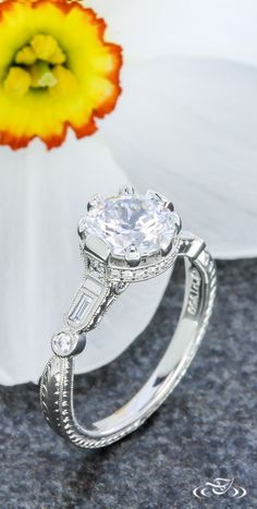 Antique Crown Style Engagement Ring. Green Lake Jewelry