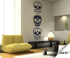 Skull Wall Decals  Vinyl Sticker  Home Decor by HomeWall on Etsy, $77.00