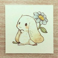 Cute Little Drawings, Cute Kawaii Drawings, Cute Animal Drawings, Animal Sketches, Kawaii Art, Bunny Drawing, Bunny Art, Drawing Step, Anime Kunst