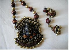 Ganesh ji design of terracotta jewellery