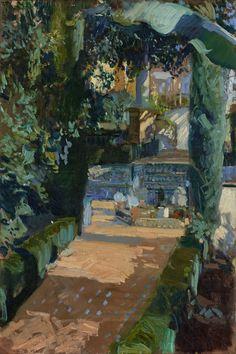 Joaquín Sorolla y Bastida (Spanish, 1863-1923) >Court of the Dances, Alcázar, Sevilla, 1910   Oil on canvas; 95.3 x 63.5 cm