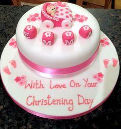 Baby girls christening cake Baby Girl Christening Cake, My Baby Girl, Baby Girls, Fondant Cakes, Ideas Para, Desserts, Kids, Random, Food