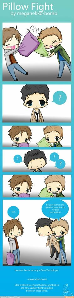 Sam ships Destiel.... but guys, can we just talk about Castiel though, I mean, omg-  He's so damn adorable here :P