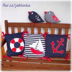 Námořnická sada II - s úpravami dle přání / Zboží prodejce jabloňka Fabric Fish, Fabric Birds, Nautical Quilt, Nautical Theme, Cushion Covers, Pillow Covers, Scatter Cushions, Throw Pillows, Sewing Pillows