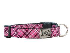 RC Pet Products 1-Inch Adjustable Dog Collar, Large, Pink Tartan