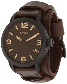 Fossil JR1365 Clyde Stainless Steel and Leather Watch Dark Brown - This classic timepiece is a must-have for any man. A matte black stainless steel case and brown leather strap create the perfect blend of modern detailing and vintage inspiration. Case Size: 46mmCase Thickness: 12mmBand Width: 22mmWater Resistant: 5 ATMWarranty: 11-year limited Origin: Imported