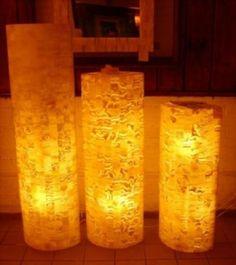 juego de 3 lámparas de pie circulares, elaboradas en ónix técnica marqueteria, acabadas pulidas brillantes o mate, medidas de 60, 80, 100 altura y 30 cms de diámetro