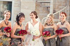 grey bridesmaid dresses with pink rose or peachy coral flowers