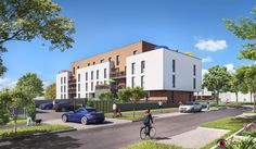 Perspective extérieur 3D pour la commercialisation d'un programme d'habitation à Isneauville pour Eiffage