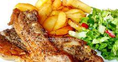 Costite de porc la cuptor marinate cu mustar, cimbru, vin, usturoi si sos de soia. Carne, Steak, Chicken, Pork, Steaks, Cubs