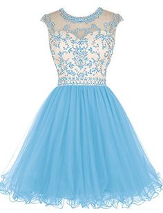 Tideclothes Short Beading Prom Dress Tulle Evening Dress Hollow Back Blush US2 ** BEST VALUE BUY on Amazon