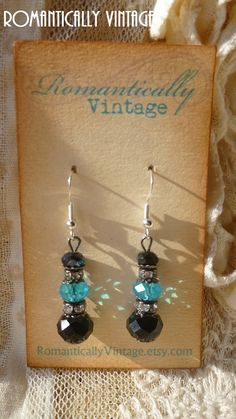 Black Swarovski Crystal Earrings Beaded by RomanticallyVintage, $24.50