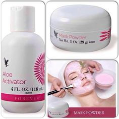 Forever aloe activator and mask powder, combine together to make a rejuvenating face mask to cleanse, smooth and tighten the skin. Aloe Barbadensis Miller, Forever Living Aloe Vera, Forever Aloe, Aloe Vera Skin Care, Aloe Vera Gel, Diy Mask, Diy Face Mask, Forever Living Business, Chocolate Slim