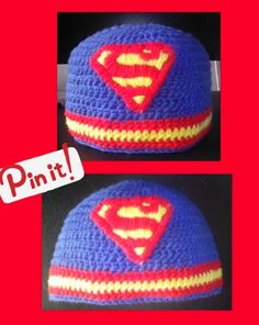 crochet superman beanie hat