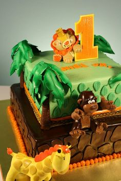 Jungle Animal Theme 1st Birthday cake