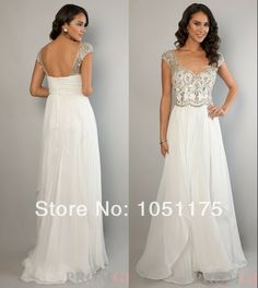 New Luxury 2014 A Line White Party Prom Dresses Ruched Chiffon Sweethetr Cap Sleeve Rhinestone Beaded Bodice Long Evening Gown US $158.00