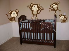 Adorable Nursery Designs for Your Beloved Baby Boy: Cool Monkey Wall Decal On Boy Nursery Ideas Plus Black Wooden Crib And Brown Wall To Wall Carpet ~ inotfat.com Bedroom Inspiration
