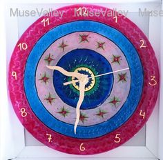 Wall clock Glass painting silicon colors