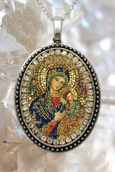 Our Lady of Perpetual Help Handmade Necklace Catholic Christian Religious Jewelry Medal Pendant Our Lady of Perpetual Succour Theotokos Blessed Mother Mary, Blessed Virgin Mary, Catholic Jewelry, Catholic Art, Catholic Prayers, Religious Icons, Religious Art, True Gift, Mary And Jesus