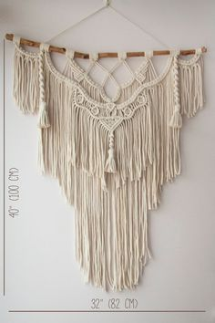"Macrame Wall Hanging Large- ""Shamanic"" with feathers-Macrame Backdrop-Macrame Curtains-Boho Home Decor-Bohemian Wall Hanging-Boho Art Macrame Wall Hanging Diy, Macrame Curtain, Macrame Wall Hangings, Macrame Art, Tapestry Headboard, Wall Tapestry, Hanging Tapestry, Deco Boheme, Macrame Projects"