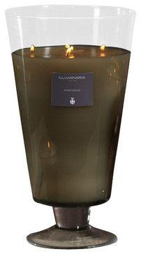 Zodax Illuminaria Wax Filled Vase Candle Jar Narcissus-Large transitional-candleholders