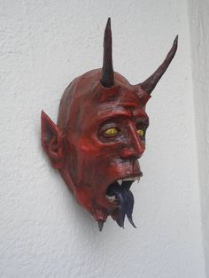 Red Devil/Demon Handmade Paper Mache Mask, Lucifer/Satan Horned Mask, Horror/Scary Wall Art, Wall Decoration, Room Ornament
