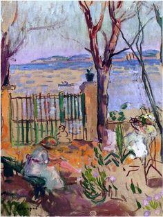 Garden by the sea in St Tropez-1907 by Henri Lebasque