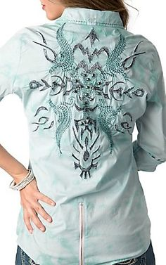 Roar® Womens Ikat Get Enough Mint Embroidered Rhinestone Long or 3/4 Sleeve Western Shirt | Cavenders Boot City