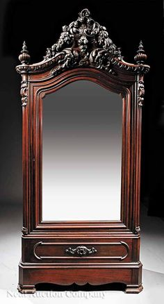 0950: American Rococo Carved Rosewood Armoire : Lot 950