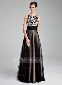 Vestidos princesa/ Formato A Decote redondo Longos Tule Vestido de baile com Pregueado Renda (018019083) - JJsHouse