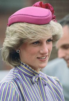 Princess Diana, portrait, pink hat, hair, fashion, icon, r.i.p. beautiful, never forget, gorgeous, royalty, royal, Princess Di.