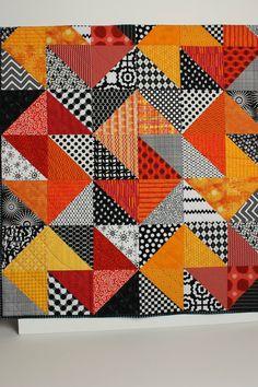 "Modern Baby Quilt ""Declan"" Contemporary Triangle Pattern in Red, Orange, Gold…"