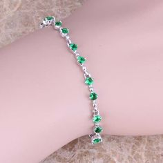Superb Green Emerald 925 Sterling Silver Overlay Link Chain Bracelet 6.5 - 7.5 inch Free Shipping & Gift Bag S0508