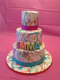 """An artsy """"splatter"""" cake, this is it!! We can totally do an art themed bday party. Kate you are amazing!!"""