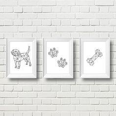 Scandinavian Dog Wall Art Print. Minimalist Dog by MyDesignCorner
