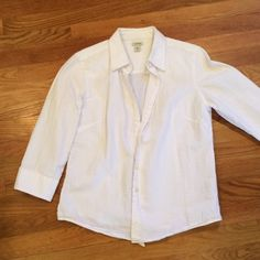 L.L. Bean crisp white cotton shirt 3/4 sleeve, pebbled cotton fabric. Fitted. L.L. Bean Tops Button Down Shirts