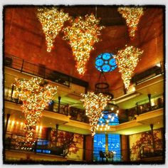 Upside-down Christmas Trees at the Liberty Hotel, Boston