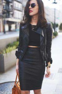 edba319bc4 Faldas cortas en telas de piel negras 2 Vestido Negro