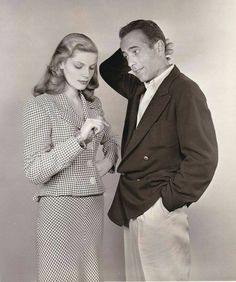 Humphrey Bogart and Lauren Bacall in To Have and Have Not - 1944 Hollywood Couples, Hollywood Actor, Golden Age Of Hollywood, Vintage Hollywood, Hollywood Stars, Classic Hollywood, Celebrity Couples, Hollywood Actresses, Hollywood Images