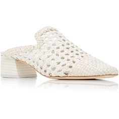 Miista Ida Woven Mule (€225) ❤ liked on Polyvore featuring shoes, white, white mules, white leather shoes, braided leather shoes, braided shoes and miista shoes
