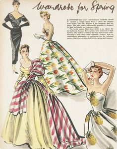 Simple Black Dress Jacques Fath, Pale Yellow Schiaparelli, Strapless Flower Print Dress Dior and White Organdie with Embroidered Pineapples Givenchy Vintage Fashion 1950s, Fashion Illustration Vintage, Retro Fashion, Club Fashion, Fashion Illustrations, Moda Vintage, Vintage Love, Vintage Ads, Vintage Style