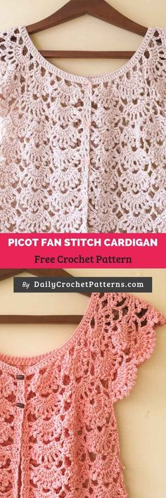 The Picot Fan Stitch cardigan Free Crochet Pattern Crochet Patterns Free Women, Crochet Patterns For Beginners, Sewing Projects For Beginners, Knitting Patterns Free, Free Crochet, Knit Crochet, Crochet Vests, Simple Projects, Crochet Edgings