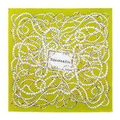 Tiffany Pearls scarf in chartreuse silk.