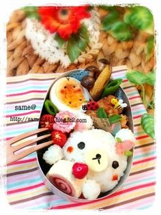 Korilakkuma bento   this is so cute! I want to learn how to make those strawberry cake rolls :)