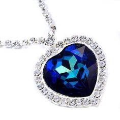 Fancy LARGE Bermuda Blue Austrian Crystal Titanic Heart of the Ocean Pendant Necklace Elegant Trendy Fashion Jewelry